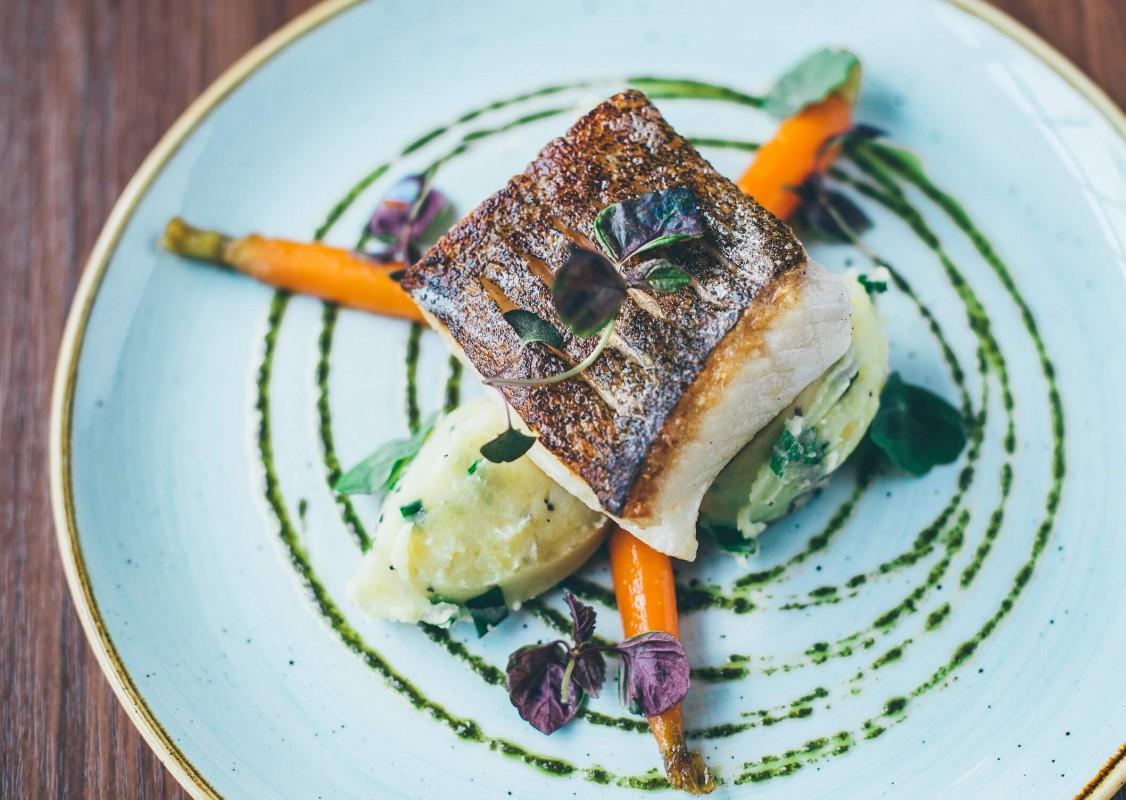 halibut in fish restaurant in Gdańsk