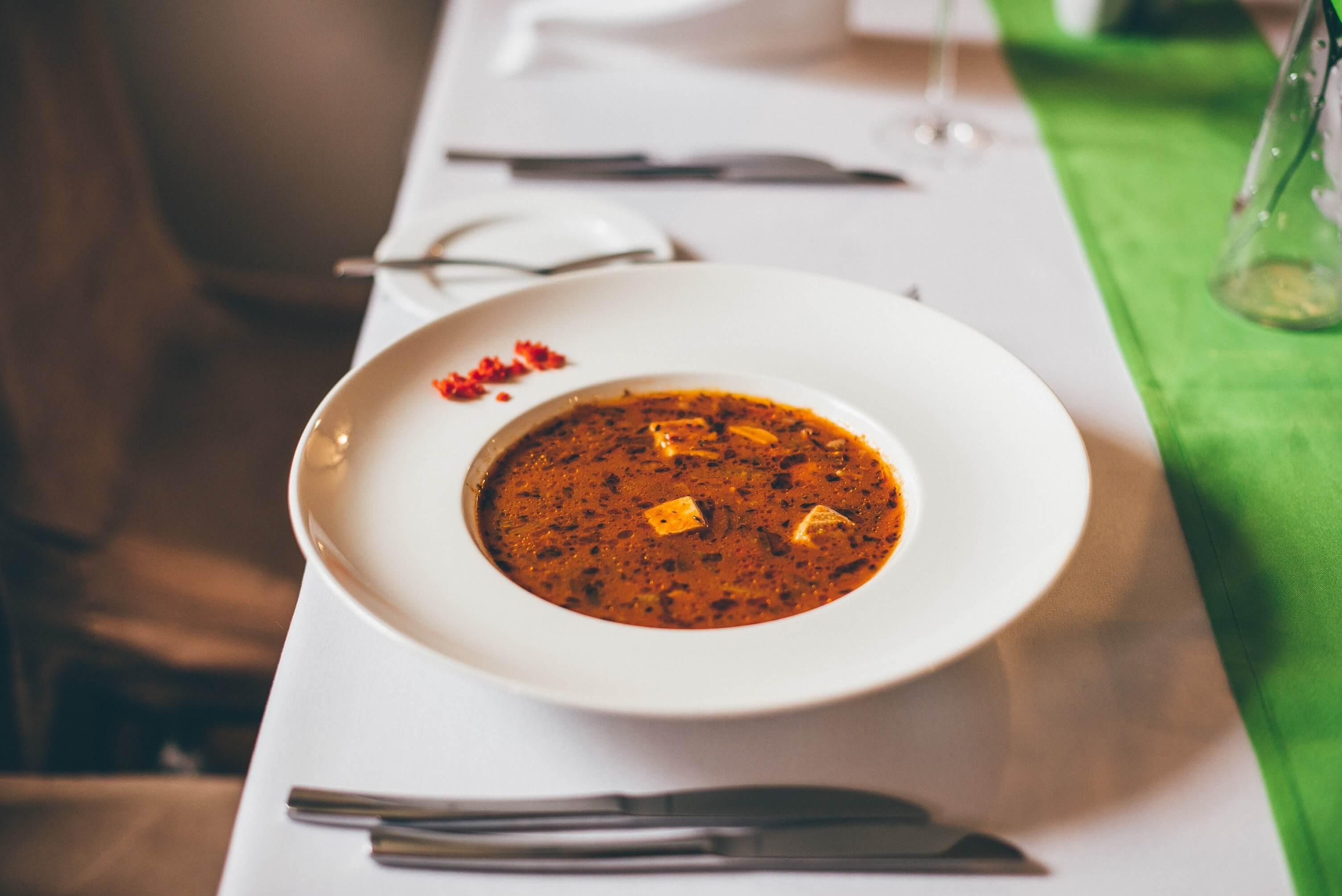 Fish soup in Brovarnia Gdańsk restaurant in Gdańsk