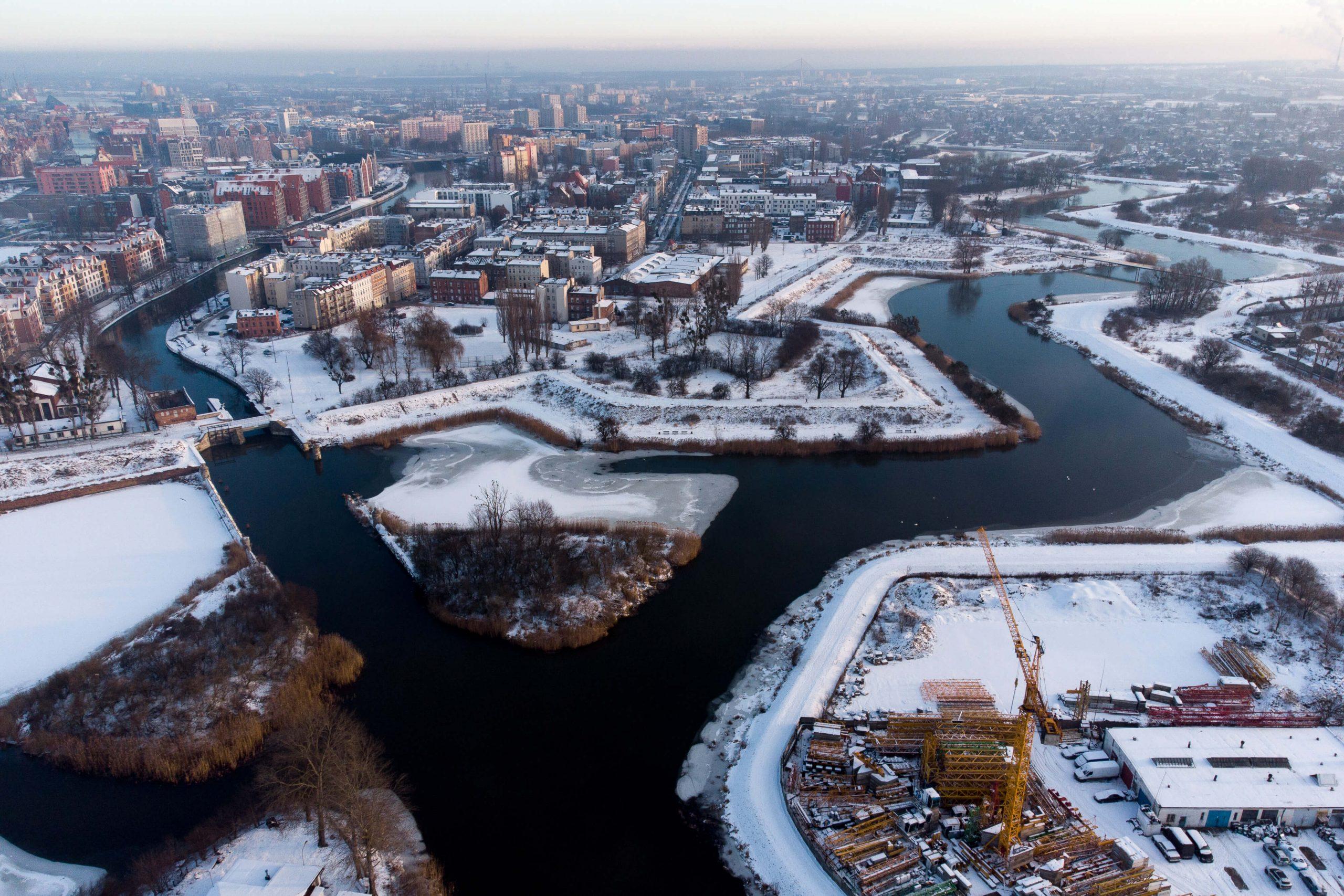 Panorama Gdańska zimą